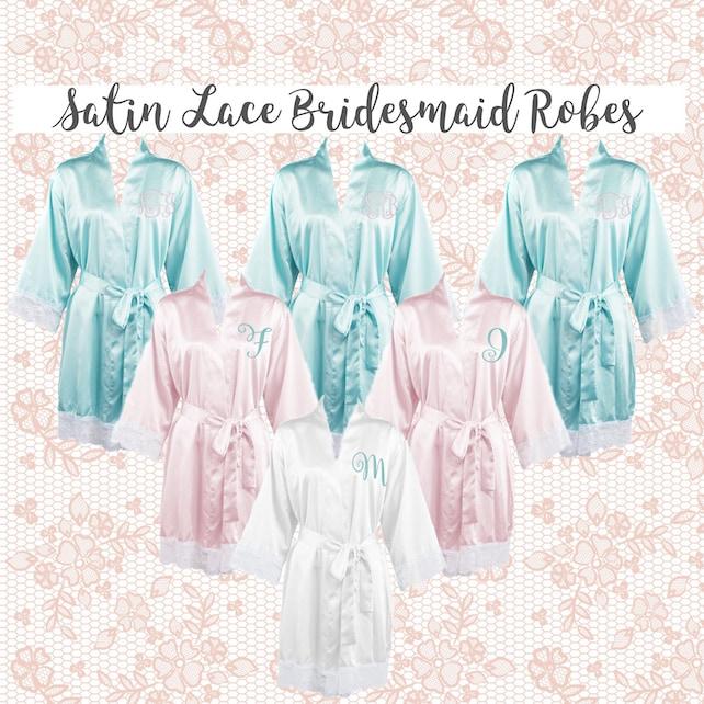 Bridesmaid Robes , Lace Cuff Satin Wedding Robes , Bridesmaid  gifts , Personalized Wedding Robes , Monogrammed  Satin Robe
