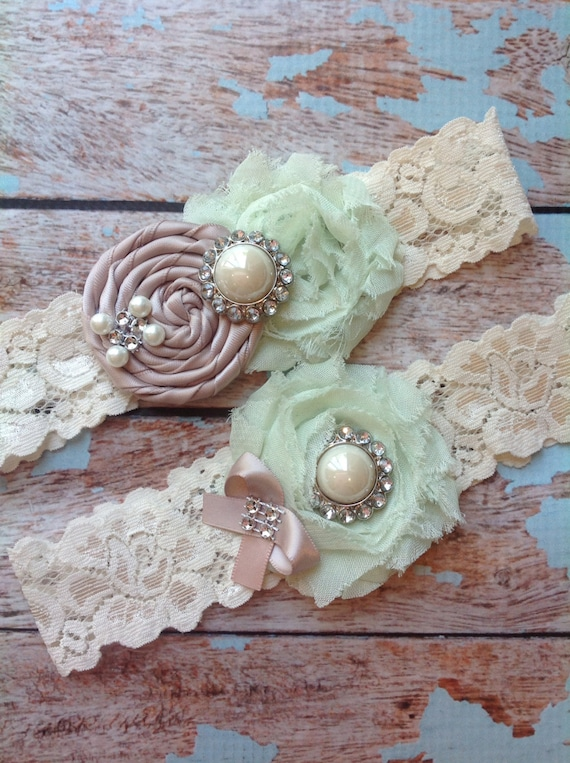 Taupe & Mint Wedding Garter Set Bridal Garter Ivory Lace Garter Something Blue Rhinestone Garter Vintage Garter Belt Toss Garter Lace Garter