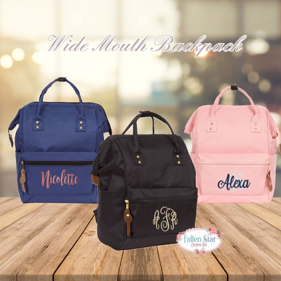 Personalized Backpack, Monogramed Backpack, Wide Mouth Backpack, Computer Bag, Laptop Bag, Weekend Backpack , Personalized Large Backpack