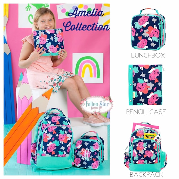 Girls Backpack, Back To School, Girls Lunchbox, Monogrammed Backpack & Lunchbox, Personalized Backpack  Lunchbox AMELIA