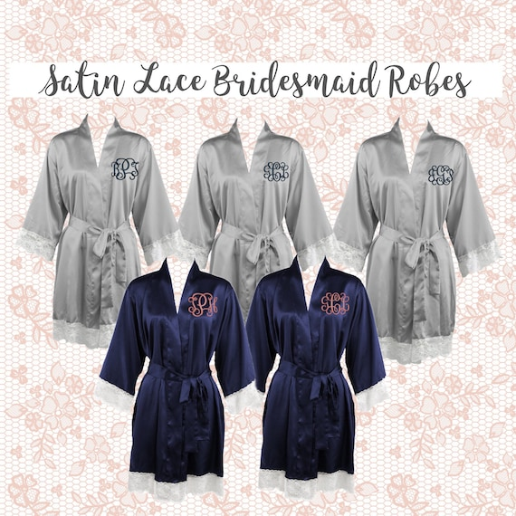 Lace Cuff Bridesmaid Robes , Lace Cuff Satin  wedding robes , bridesmaid gifts , personalized wedding robes , monogrammed satin robe