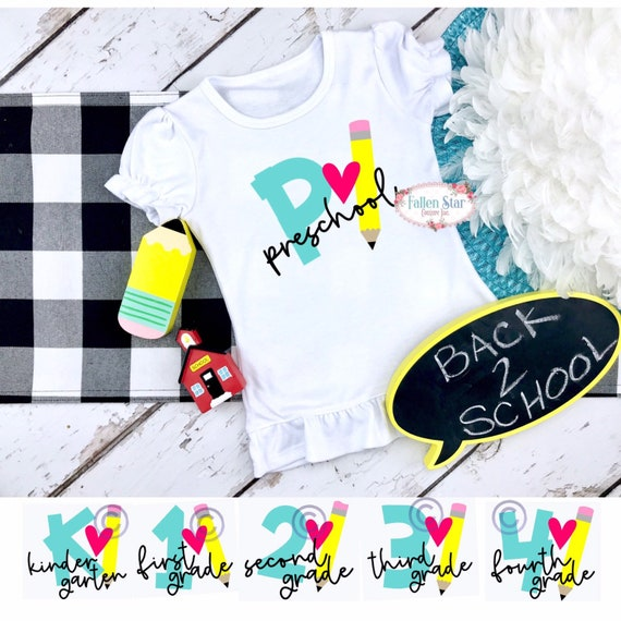 Back to school shirt for girls, first day of school shirt, 1st grade, 2nd grade, 3 rd grade, kindergarten , pre k, preschool