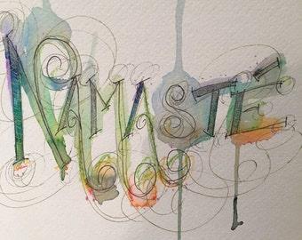 "Yoga ""namaste"" calligraphy and watercolor artwork"