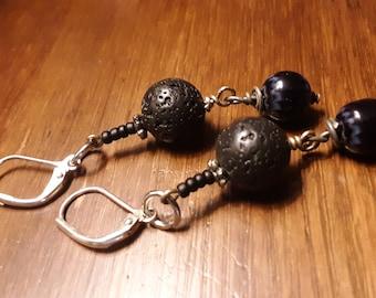 Black lava rock beaded goth girl dangle earrings boho casual