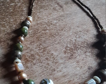 Unakite pearl brass lampwork mother of pearl boho  necklace