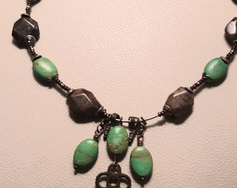 Jasper and turquoise mixed metal vintage key necklace