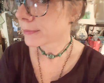 Lovely green lampwork and czech glad beads with ss necklace