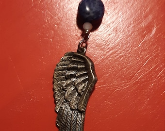 Angel wing necklace sodalite stone blue necklace dream necklace boho jewelry