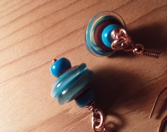 Lampwork and turquoise small dangle copper earrings