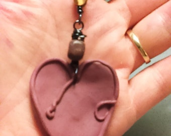 Hemp Necklace Hand Knotted Necklace Clay Necklace Heart Necklace Stone Wire Wrapped Charm Love Art Boho Chic Necklace Hippie necklace