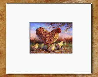 Hen And Chicks Archival Print