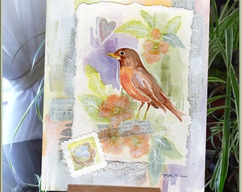 Spring Robin Bird Original Watercolor Folk Art Collage Painting - Blossoms - Shabby Chic - Home - FREE Shipping Decor