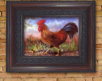 Strutting Red Rooster  Chanticleer Print