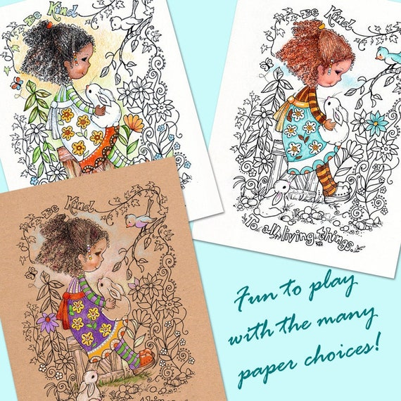 Coloring Book Pages Digital Download Colored Pencils Gel Etsy