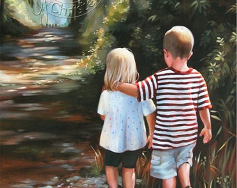 ACEO - Children in Forest - Art Print - FREE Shipping