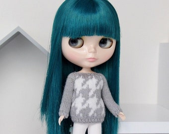 Neo BLYTHE Doll - HOUDSTOOTH Knitted Sweater Pullover Jumper Top Knit Wear - Gold Sparkley Gray - White - Christmas Winter Clothing Xmas