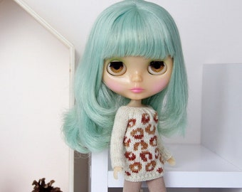 Neo BLYTHE Doll - Leopard Print Knitted Sweater Pullover Top Tunic Jumper Knit Wear - Gold Sparkley Cream - Degrade Caramel Copper - Animal
