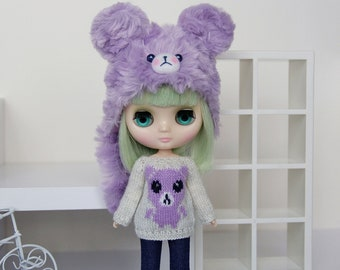 Middie BLYTHE Doll TEDDY Knitted Sweater - Silver Sparkley Off-White - Lavender Purple - Knit Pullover Top Wear Animal Bear