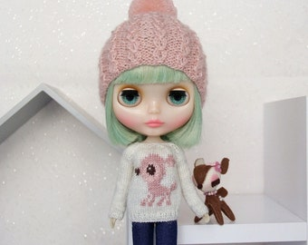 Neo BLYTHE - Dear DEER Sweater Pullover Top - Silver Sparkley Greyish Offwhite - Dusty Pinks - LIMITED