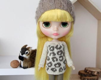 Neo BLYTHE Doll - Leopard Print Knitted Sweater Pullover Jumper Top Tunic Knit Wear - Gold Sparkley Cream - Dark Khaki - Winter Clothing