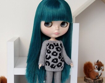Neo BLYTHE Doll - Leopard Print Knitted Sweater Pullover Top Tunic Jumper Knit Wear - Gold Sparkley Gray - Black - Winter Clothing