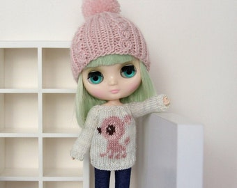 Middie BLYTHE - Dear DEER Sweater Pullover Top - Silver Sparkley Greyish Offwhite - Dusty Pinks - LIMITED