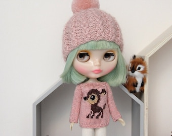 Neo BLYTHE - Dear DEER Sweater Pullover Top - Silver Sparkley Dusty Rose Pink - Browns - LIMITED