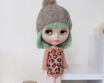Neo BLYTHE Doll - Leopard Print Knitted Sweater Pullover Jumper Top Tunic Knit Wear - Gold Sparkley Pastel Salmon - Degrade Copper Brown