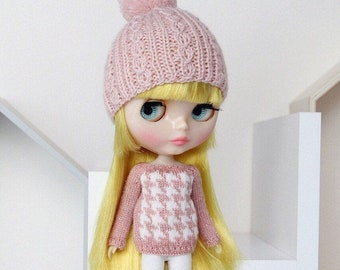 Neo BLYTHE Doll - HOUDSTOOTH Knitted Sweater Pullover Jumper Knit Wear Top - Silver Sparkley Dusty Rose Pink - White - Winter Christmas Xmas