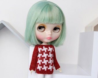 Neo BLYTHE Doll - HOUDSTOOTH Knitted Sweater Pullover Knit Wear Jumper Top - Gold Sparkley Red - White - Christmas Winter Clothing