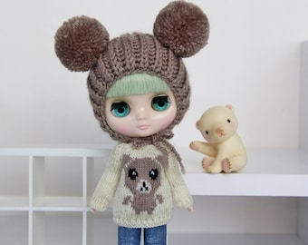 Middie BLYTHE Doll - TEDDY Knitted Sweater - Gold Sparkley Cream - Pastel Taupe Brown - Knit Pullover Outfit Top Animal Bear - Odeco Nikki