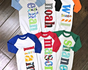 5c10a8b61 Personalized Newborn Raglan Gown/Hat/Blanket OR Set- 0-3 or 3-6 mo Custom  Name new baby shower gift hospital going home outfit baby boy