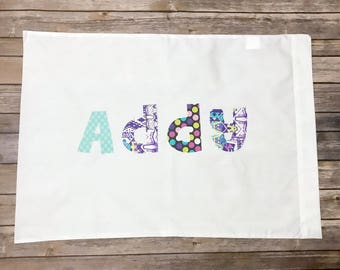 Personalized Pillowcase  - Custom Name, purple teal pink floral modern chevron polka dot pillow room girls party favor sleepover personalize