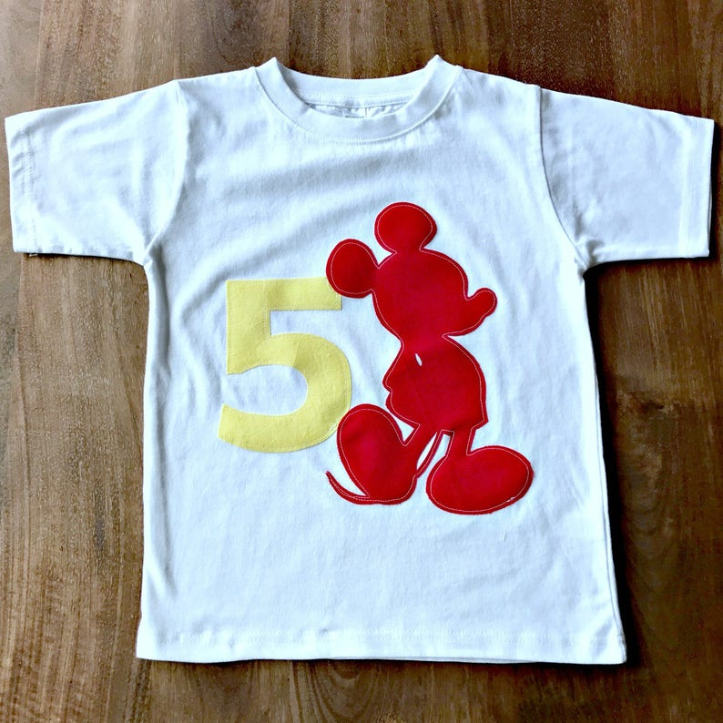 Mickey Mouse Birthday Shirt Custom Name Age 1 2 3 4 5