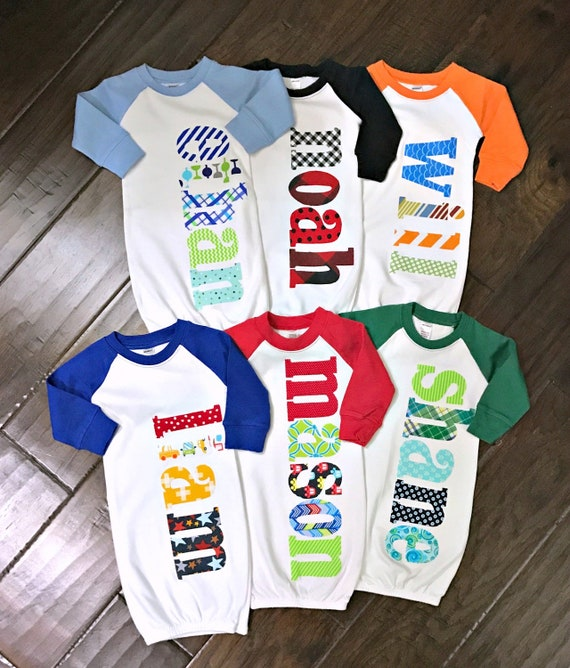 c2acb2999 Personalized Newborn Raglan Gown Hat Blanket OR Set 0-3 or