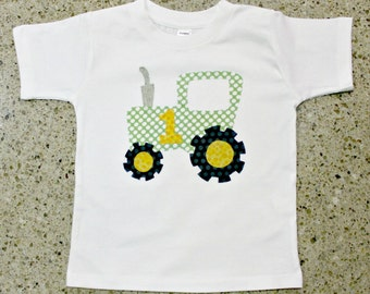 READY TO SHIP First Birthday Tractor Shirt - Size 18 mo, first birthday 1st party theme farm animal tractor boy green yellow one 1