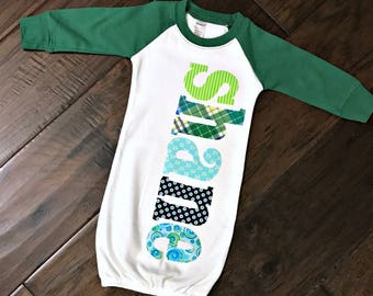 Personalized Newborn Raglan Gown - 0-3 or 3-6 mo, Custom Name Infant Gown, new baby, baby shower gift, hospital going home outfit, baby boy