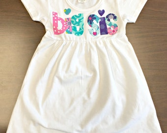 Big Sister Dress, Custom Size/Color/Sleeve Length, Big Sis Shirt, Announcement Dress, little sis sibling new baby pink teal purple spring