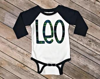 Boys Plaid Name Applique Raglan Shirt - St. Patrick's Day, gray raglan sleeve monogram plaid green navy blue shamrock clover vinyl fabric