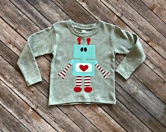 Boys Robot Valentine's Day Shirt - Custom Size/Shirt Color/Sleeve Length, onesie love heart fun valentines robot love machine birthday