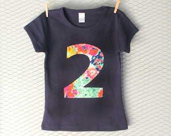 Pink Floral Girls Birthday Number Shirt - Custom Age 1, 2, 3, 4, 5, 6, 7, 8 orange green navy one two three four five six first second