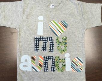 Boys I Heart Shirt - Custom Name/Size/Shirt Color/Sleeve Length, 0-3 mo to 12 yrs, Mommy, Daddy, Grandma, Grandpa, Papa, Nana, Aunt, Uncle