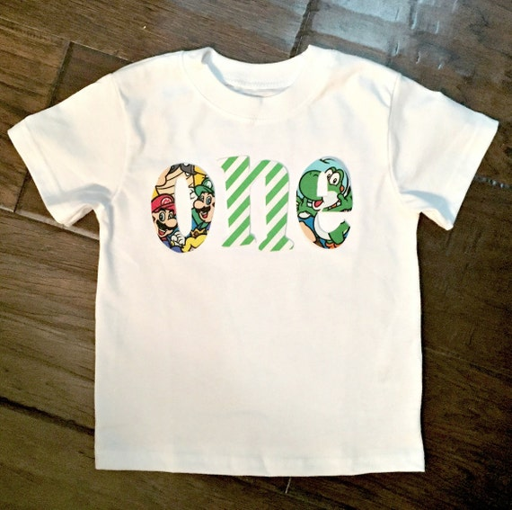 Super Mario Brothers Birthday Age Letter Shirt Custom