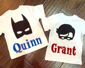 Batman and Robin Children's Set, You choose sleeve length/name/name fabric, superhero sidekick bff twins matching friends brothers brother