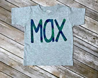 Boys Plaid Name Applique Shirt - St. Patrick's Day, gray tshirt monogram name plaid green navy blue shamrock clover vinyl fabric