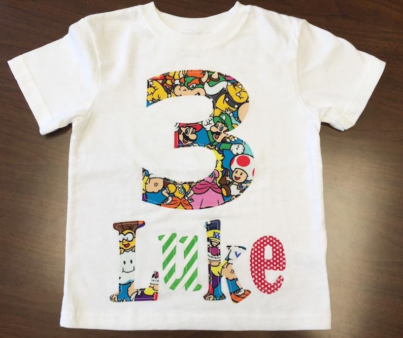 Boys Birthday Nintendo Shirt Custom Size Sleeve Length