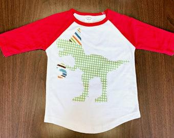 Boys Birthday Dinosaur Raglan - Dino Birthday Shirt - Onesie or Tshirt Red Raglan Birthday Shirt Dinosaur Party Theme Funny Trex Party Hat