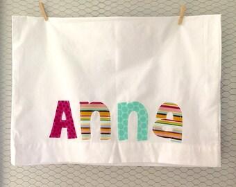 Personalized Pillowcase  - Custom Name,  dark pink hot pink teal stripe polka dot pillow room decoration bedding sleepover