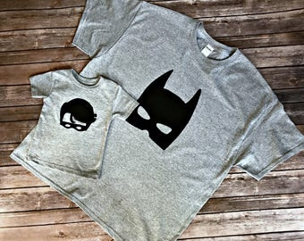 Batman and Robin Matching Dad and Son Shirts, Custom Size/Shirt Color/Sleeve Length, 0-3 mo to 12yrs,  fathers day birthday onesie set