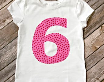 Girls Pink Polka Dot Birthday Number Shirt - Custom Age 1, 2, 3, 4, 5, 6, 7, 8, hot pink dot number birthday age party shirt tee tshirt